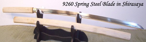 Katana Cheness 9260 Silicon Alloy Spring Steel Blade w Bohi in Shirasaya