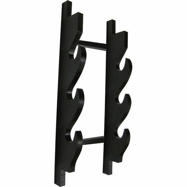 Wieszak drewniany czarny na 3 miecze (GTTC805-3)