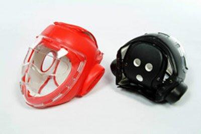 Czerwony kask z maskš - sztuczna skóra (GTTB109AR-S)