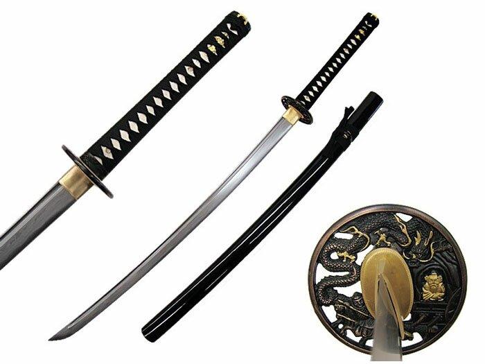 Miecz Katana Ten Ryu Damascus Sword Dragon Tsuba