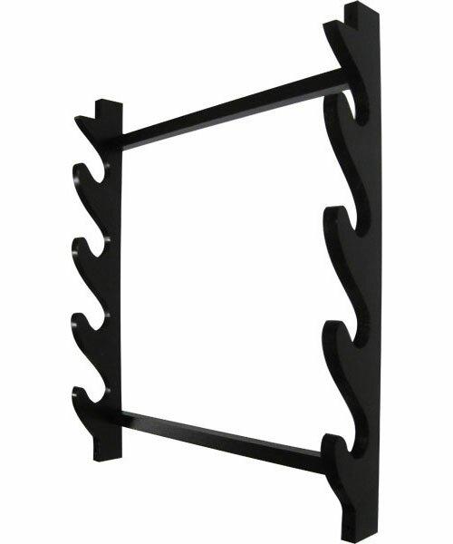 Wieszak drewniany czarny na 4 miecze (GTTC805-4)