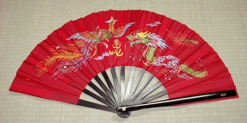 Dodatkowe zdjęcia: Wachlarz do Kung Fu - Dragon and Phoenix Red