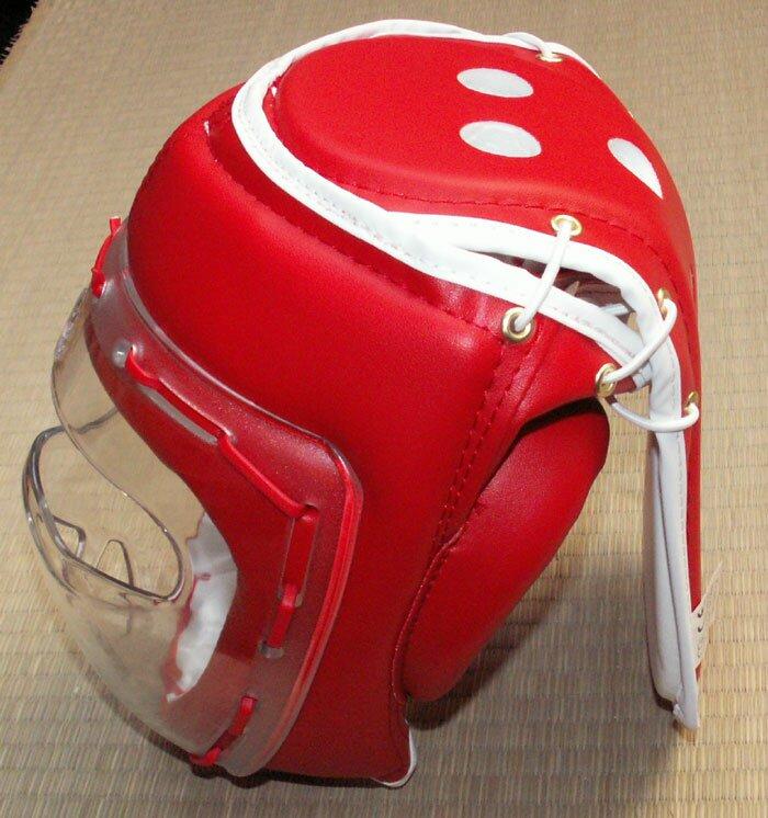 Dodatkowe zdjęcia: Czerwony kask z maską - sztuczna skóra