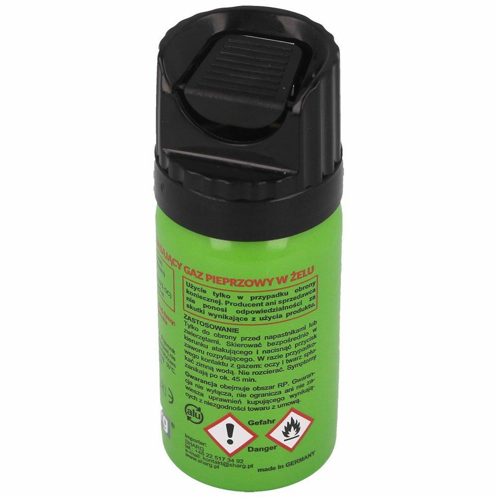 Dodatkowe zdjęcia: Gaz pieprzowy Sharg Defence Green Gel 2mln SHU 40ml Cone