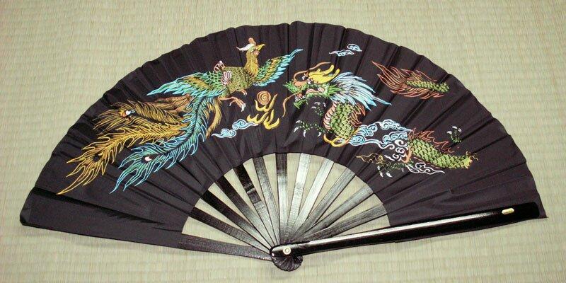 Dodatkowe zdjęcia: Wachlarz do Kung Fu - Dragon & Phoenix Black