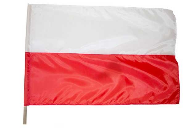 Flaga Polski 70x112 cm + drzewiec 120cm