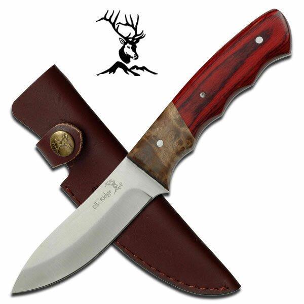 Nóż Elk Ridge Fixed Blade Burl Pakkawood