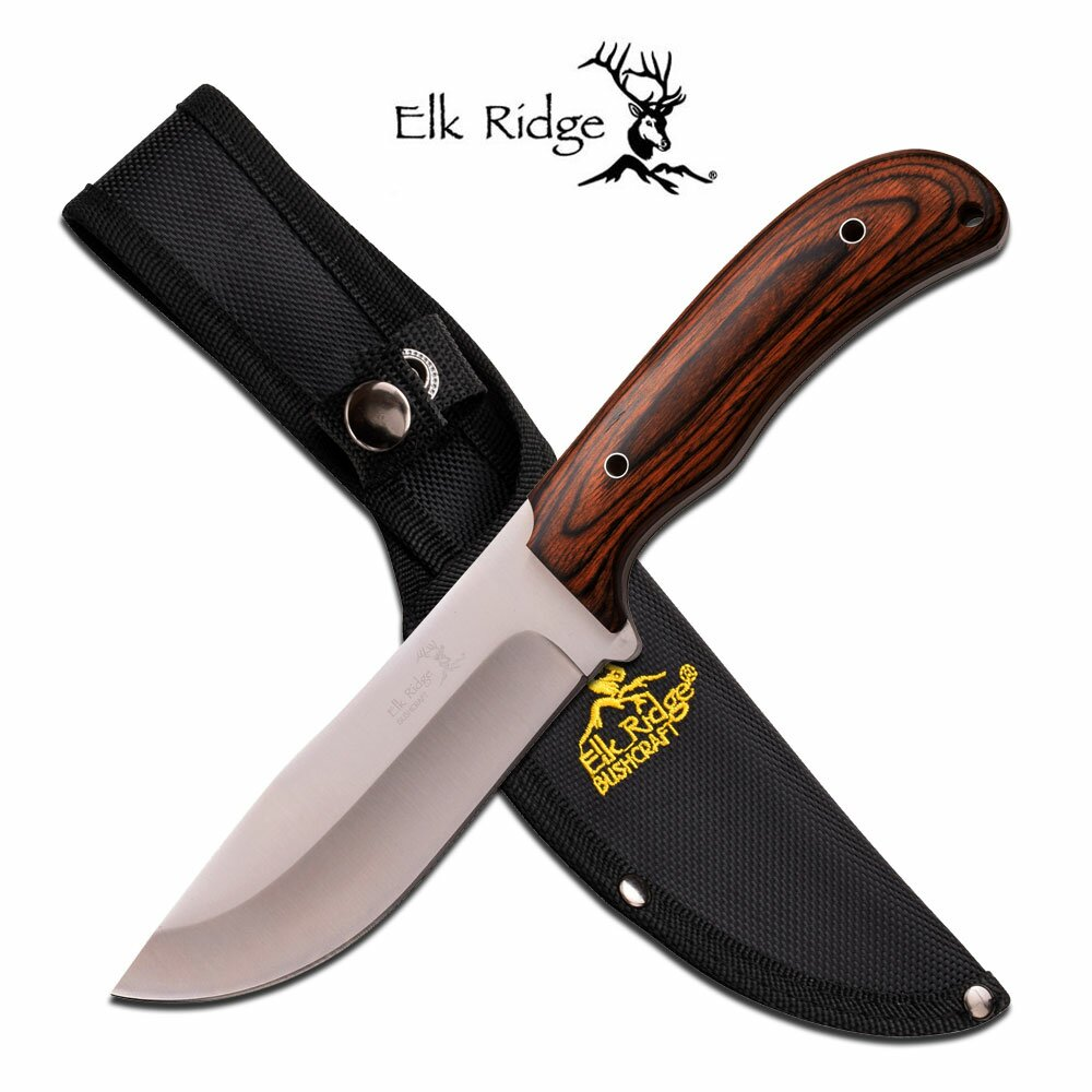 Nóż Elk Ridge Fixed Blade Bushcraft Pakkawood