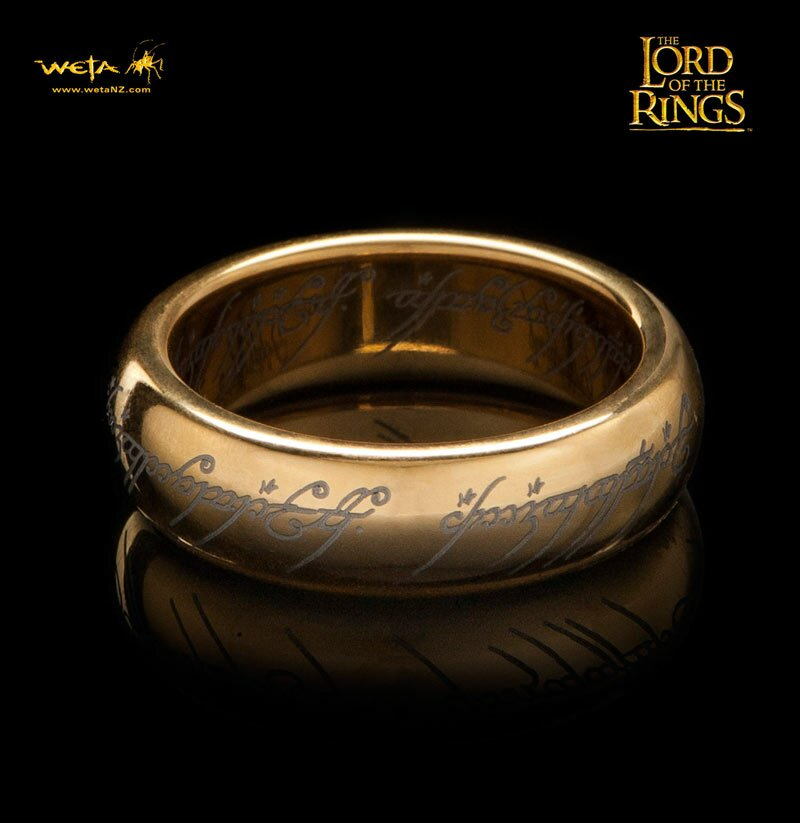 The One Ring Gold Plated Tungsten Carbide With Elvish Runes